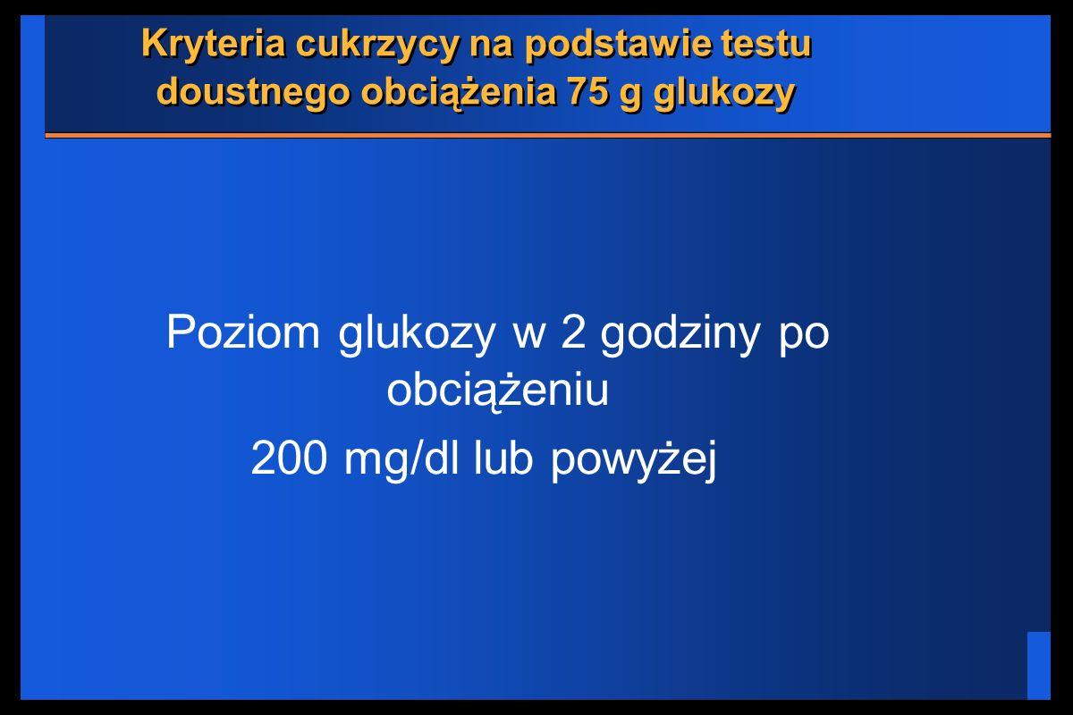 Kryteria cukrzycy na podstawie testu doustnego obciążenia 75 g glukozy
