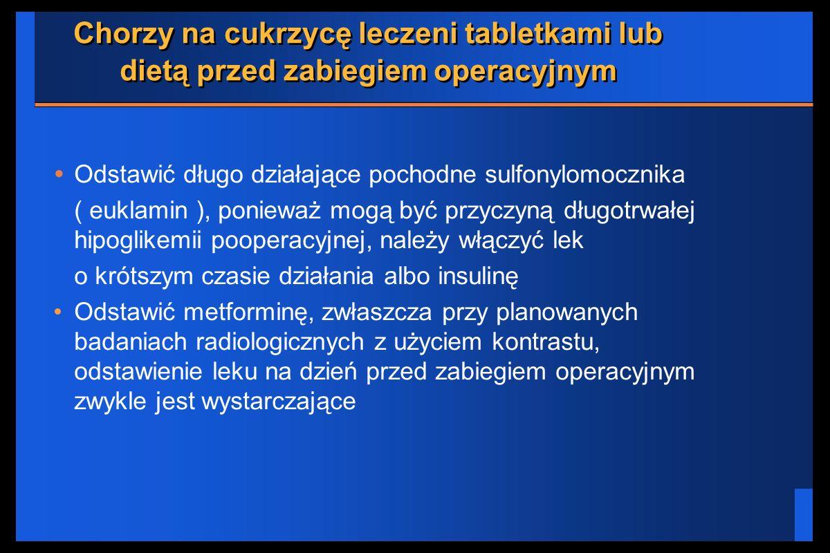 Chorzy na cukrzycę leczeni tabletkami lub dietą przed zabiegiem operacyjnym