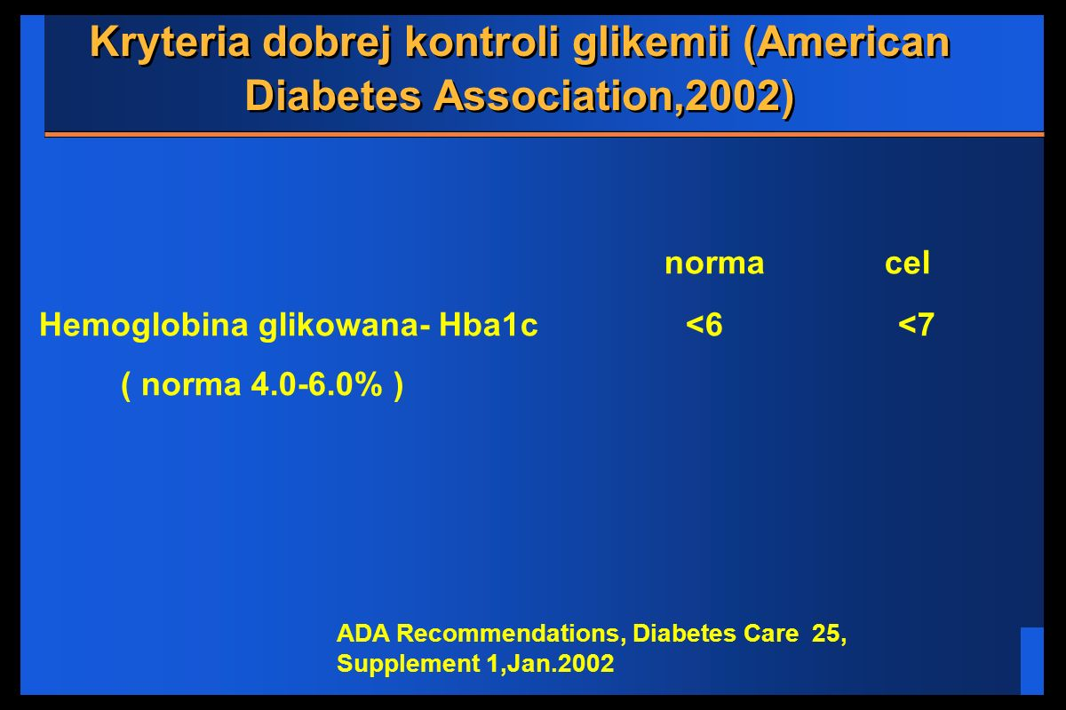 Kryteria dobrej kontroli glikemii (American Diabetes Association,2002)