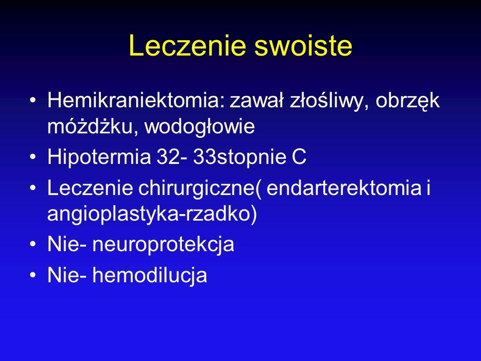 Leczenie swoiste Hemikraniektomia: zawał złośliwy, obrzęk móżdżku, wodogłowie. Hipotermia 32- 33stopnie C.