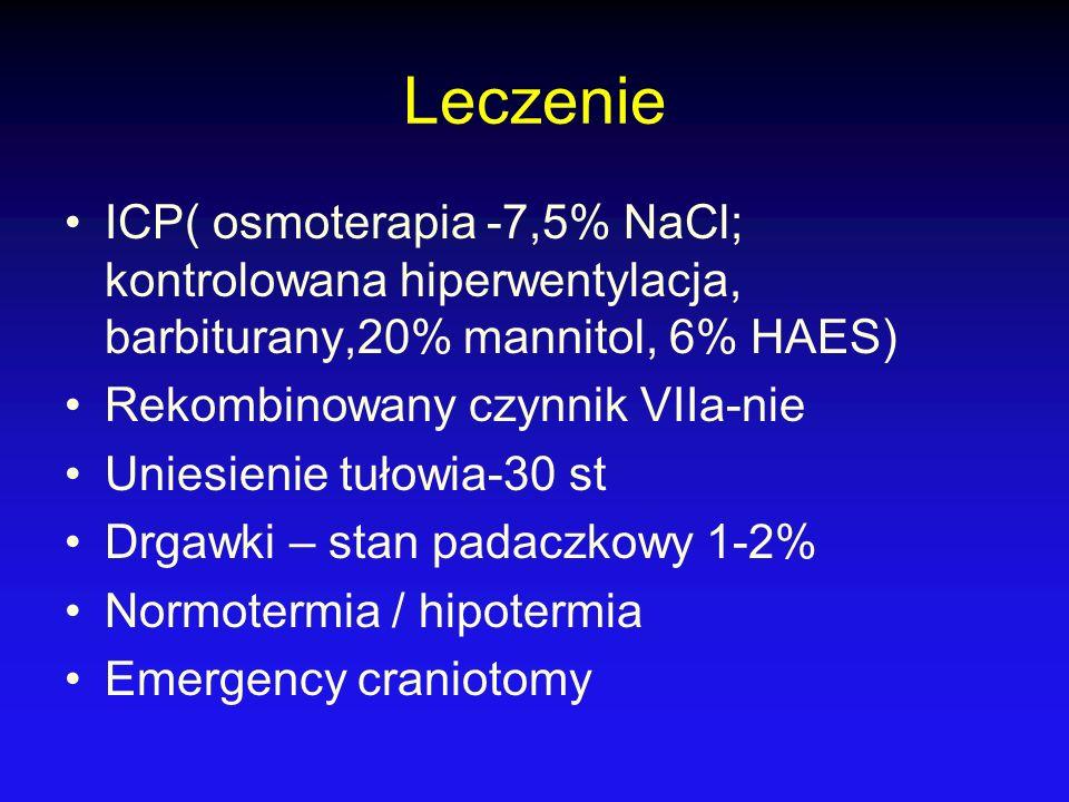 Leczenie ICP( osmoterapia -7,5% NaCl; kontrolowana hiperwentylacja, barbiturany,20% mannitol, 6% HAES)