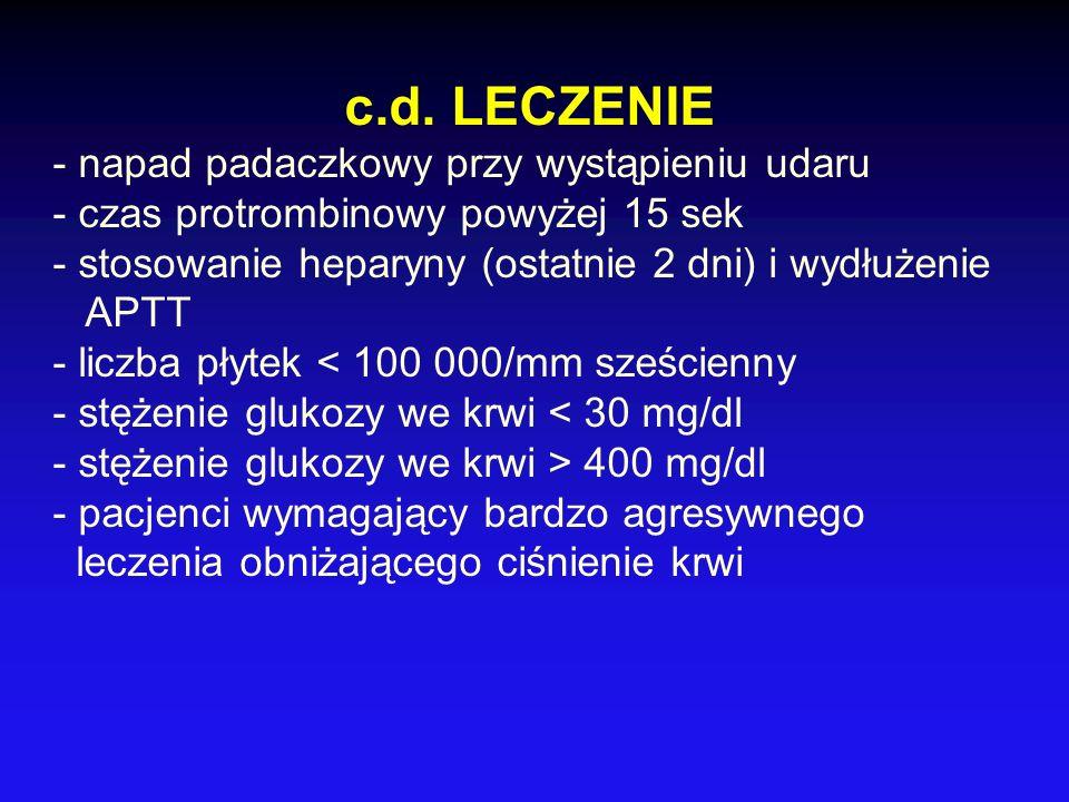 c.d. LECZENIE - napad padaczkowy przy wystąpieniu udaru