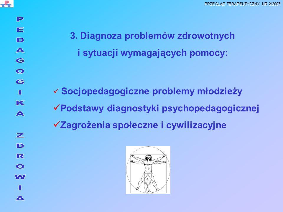 3. Diagnoza problemów zdrowotnych i sytuacji wymagających pomocy: