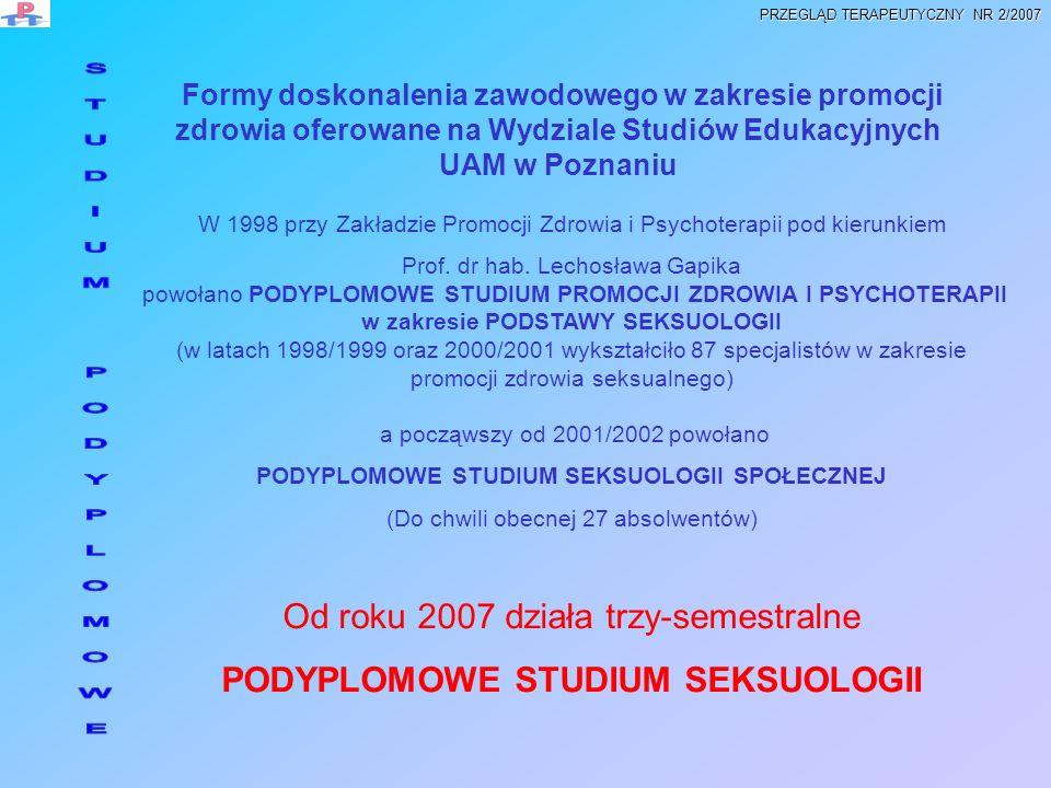 PODYPLOMOWE STUDIUM SEKSUOLOGII