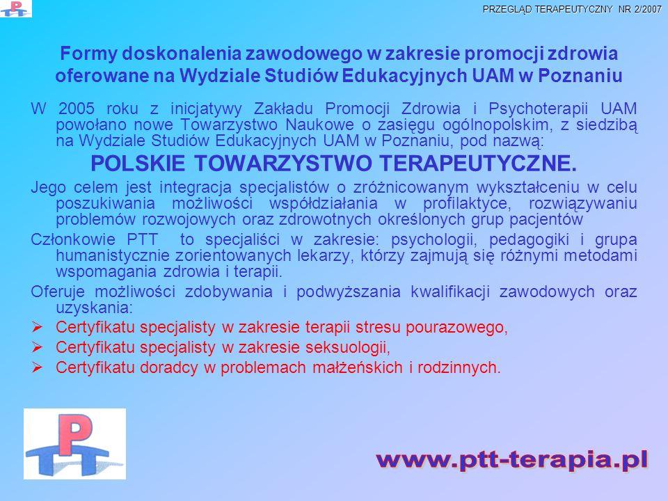 POLSKIE TOWARZYSTWO TERAPEUTYCZNE.
