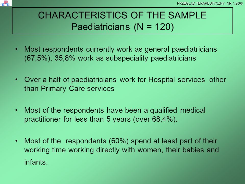 CHARACTERISTICS OF THE SAMPLE Paediatricians (N = 120)