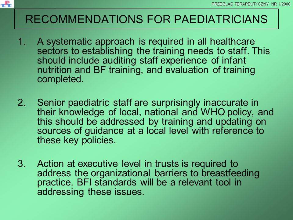 RECOMMENDATIONS FOR PAEDIATRICIANS