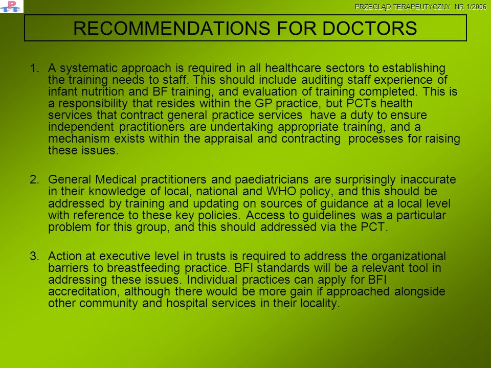 RECOMMENDATIONS FOR DOCTORS