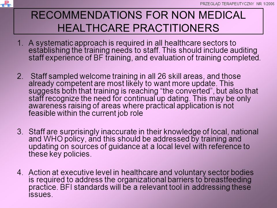 RECOMMENDATIONS FOR NON MEDICAL HEALTHCARE PRACTITIONERS
