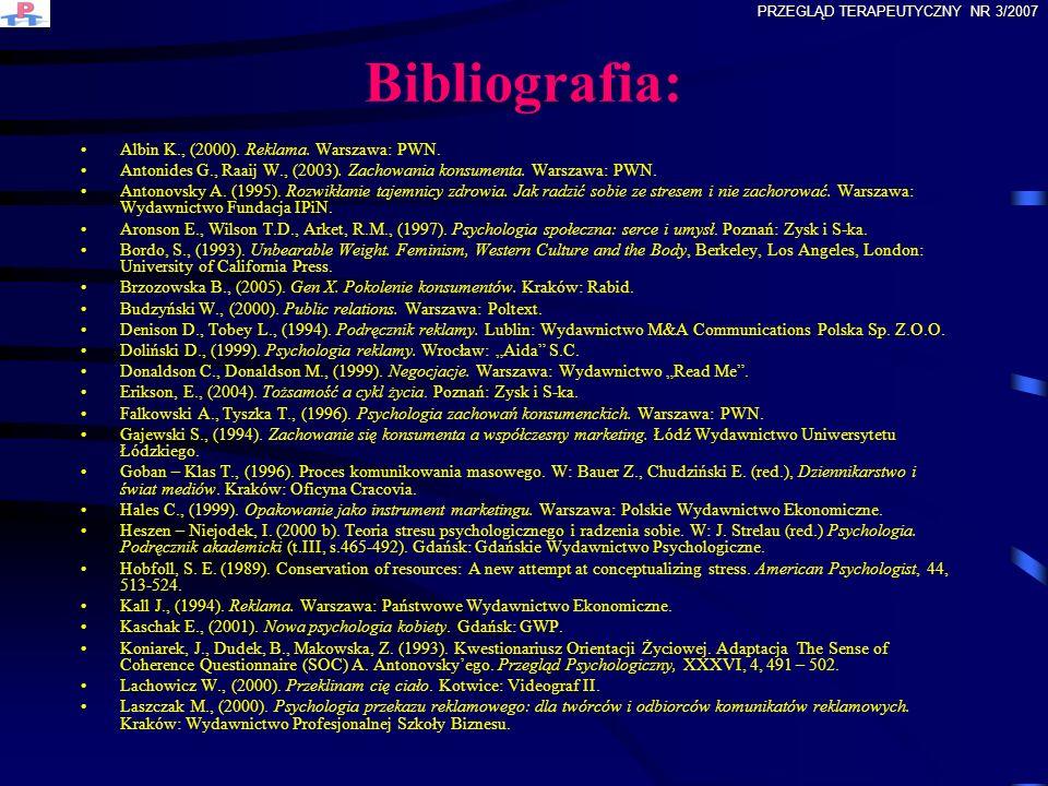 Bibliografia: Albin K., (2000). Reklama. Warszawa: PWN.