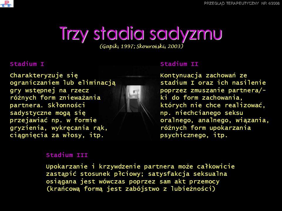 Trzy stadia sadyzmu (Gapik, 1997; Skowroński, 2003)
