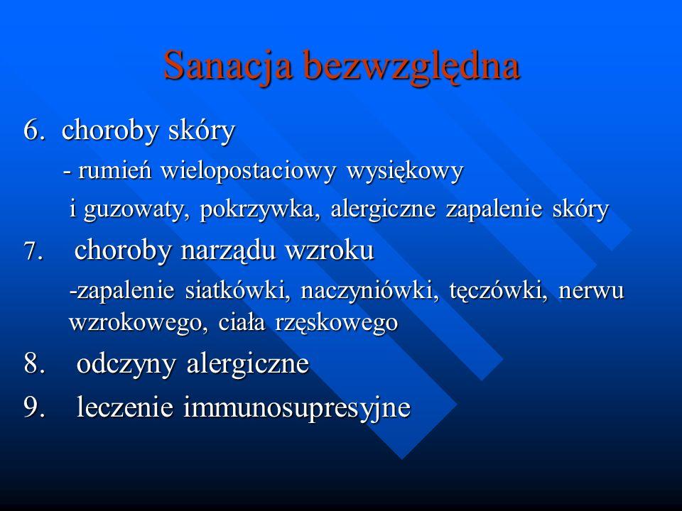 Sanacja bezwzględna 6. choroby skóry 8. odczyny alergiczne