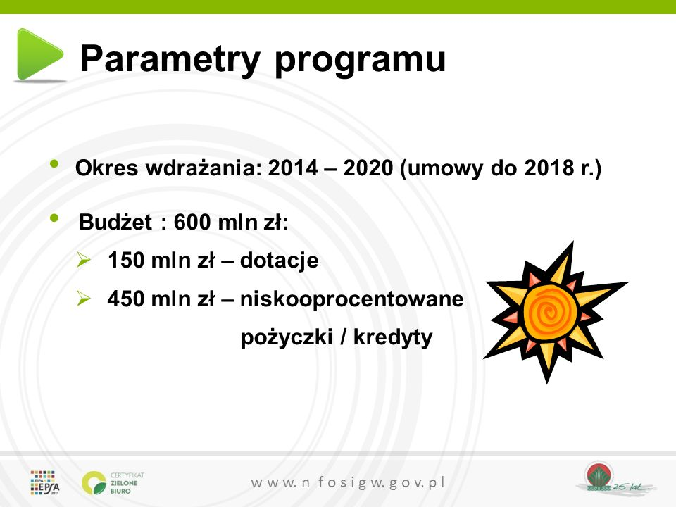 Parametry programu Okres wdrażania: 2014 – 2020 (umowy do 2018 r.)