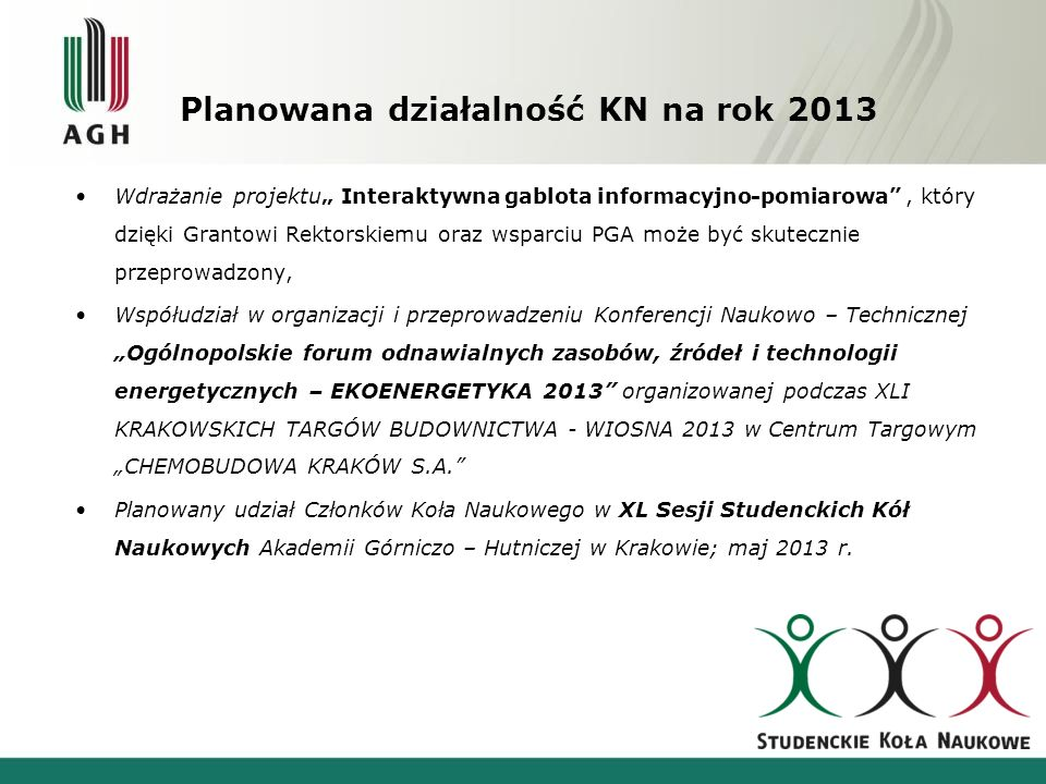 Planowana działalność KN na rok 2013