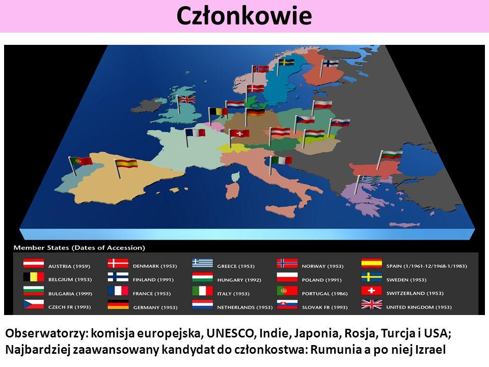 Członkowie Obserwatorzy: komisja europejska, UNESCO, Indie, Japonia, Rosja, Turcja i USA;
