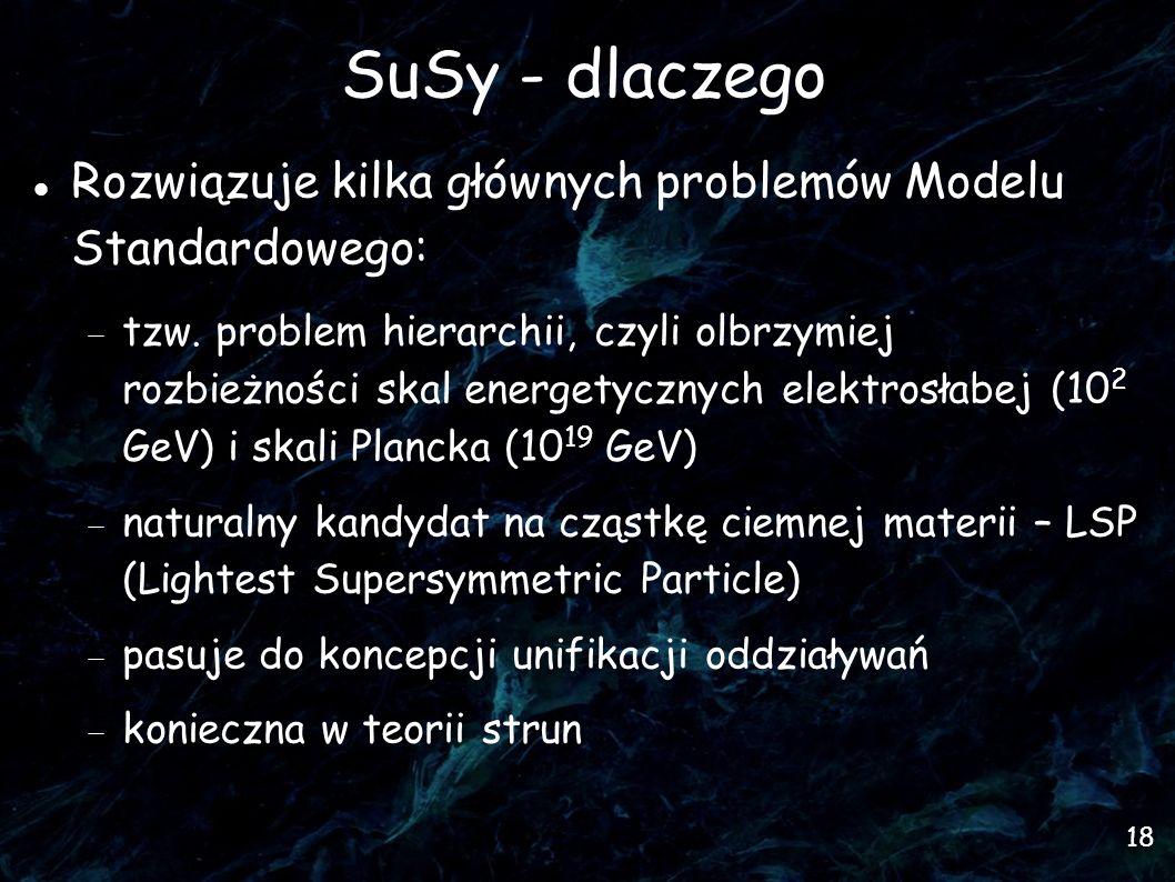 SuSy - dlaczego Rozwiązuje kilka głównych problemów Modelu Standardowego: