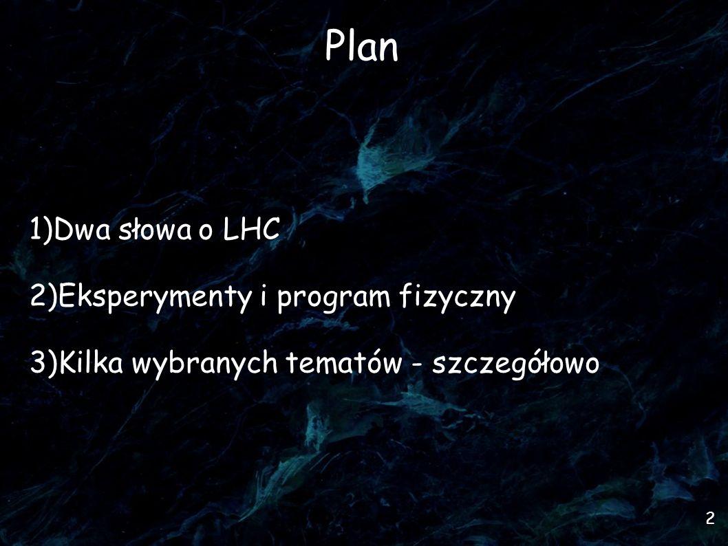 Plan Dwa słowa o LHC Eksperymenty i program fizyczny