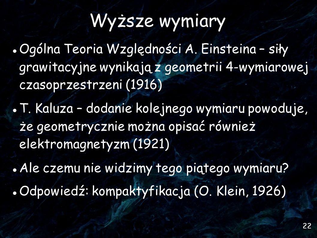 Wyższe wymiary Ogólna Teoria Względności A. Einsteina – siły grawitacyjne wynikają z geometrii 4-wymiarowej czasoprzestrzeni (1916)