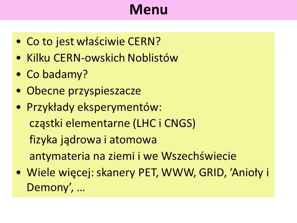 Menu Co to jest właściwie CERN Kilku CERN-owskich Noblistów
