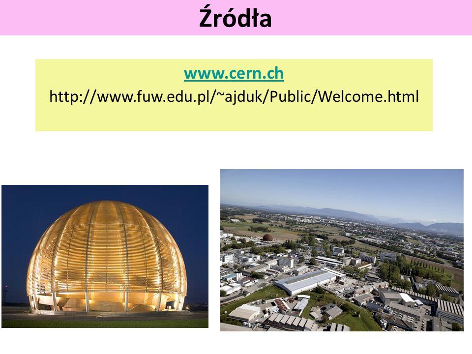 Źródła www.cern.ch http://www.fuw.edu.pl/~ajduk/Public/Welcome.html