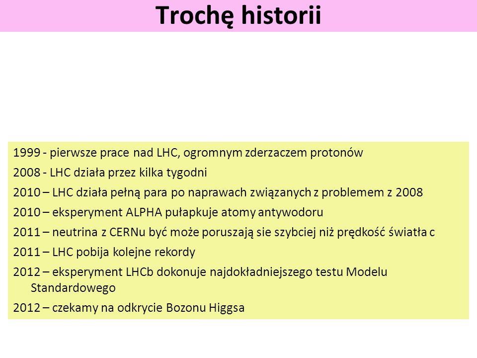 Trochę historii 1999 - pierwsze prace nad LHC, ogromnym zderzaczem protonów. 2008 - LHC działa przez kilka tygodni.