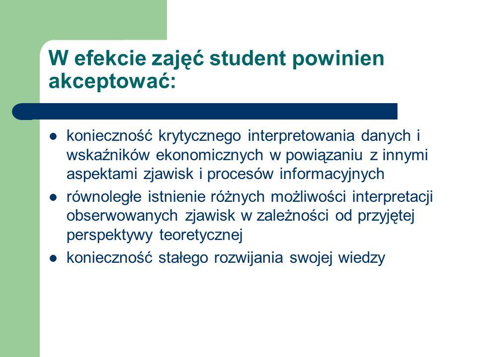 W efekcie zajęć student powinien akceptować: