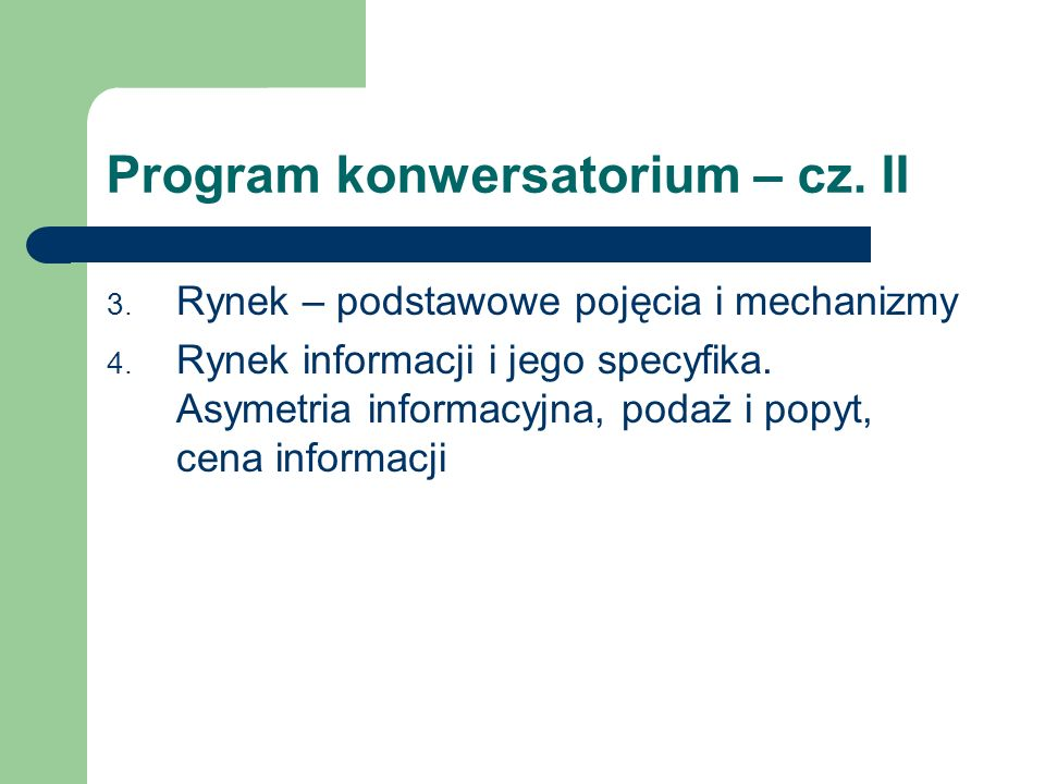 Program konwersatorium – cz. II