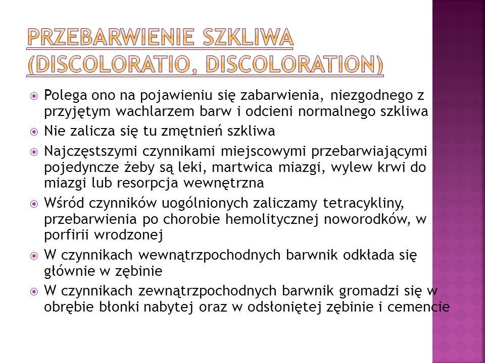 Przebarwienie szkliwa (discoloratio, discoloration)