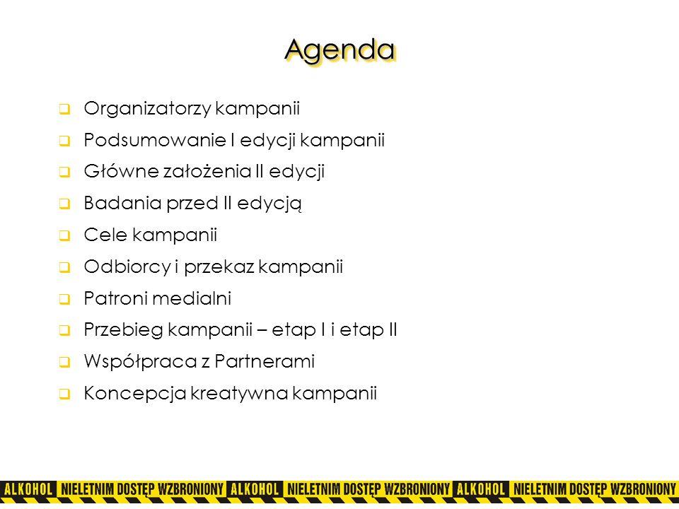 Agenda Organizatorzy kampanii Podsumowanie I edycji kampanii
