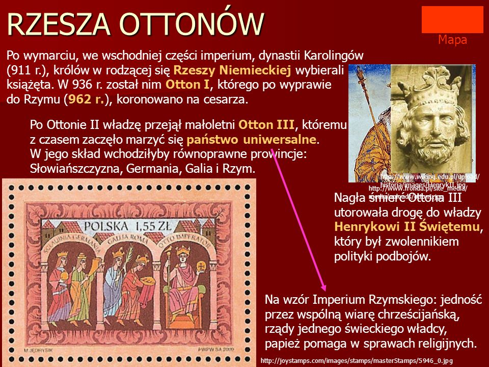 RZESZA OTTONÓW Mapa.