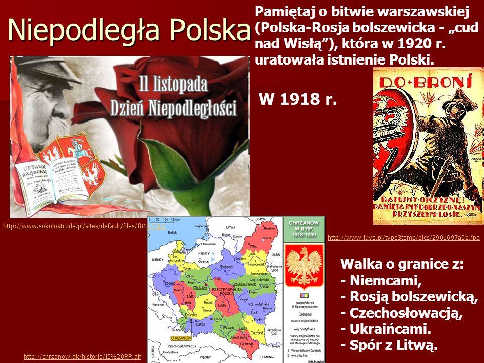 """Pamiętaj o bitwie warszawskiej (Polska-Rosja bolszewicka - """"cud nad Wisłą ), która w 1920 r. uratowała istnienie Polski."""
