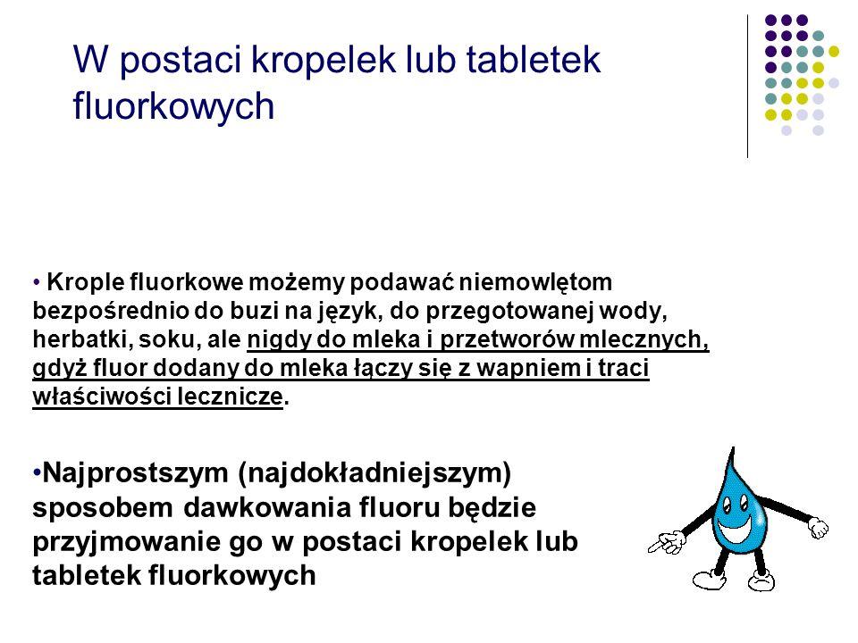 W postaci kropelek lub tabletek fluorkowych