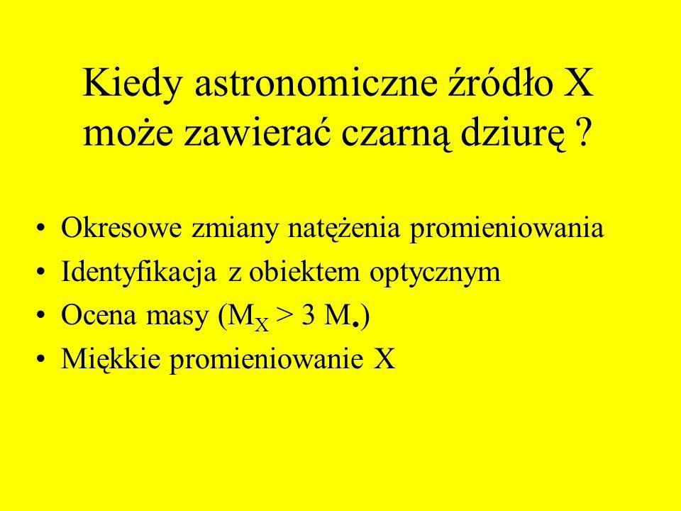 Kiedy astronomiczne źródło X może zawierać czarną dziurę