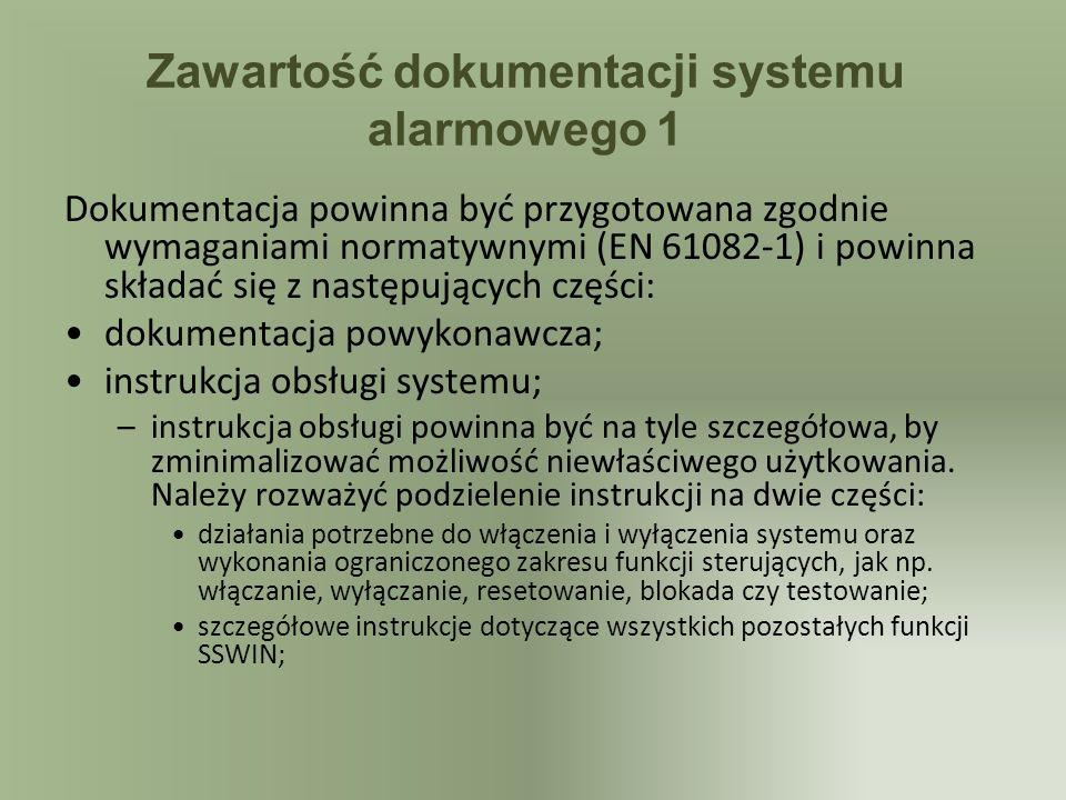 Zawartość dokumentacji systemu alarmowego 1