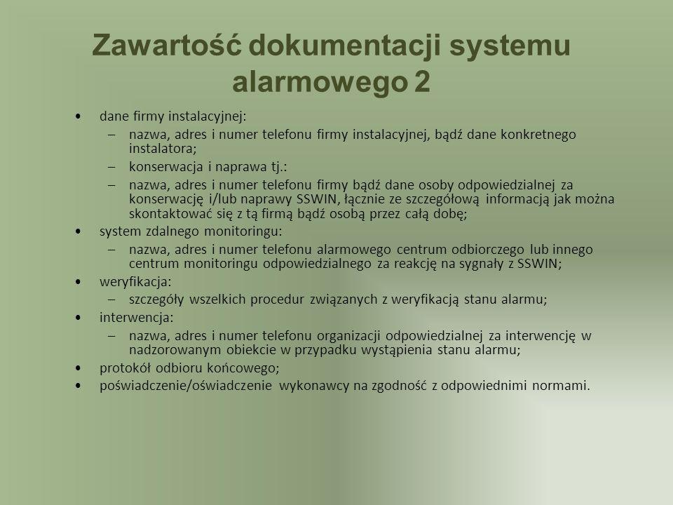 Zawartość dokumentacji systemu alarmowego 2