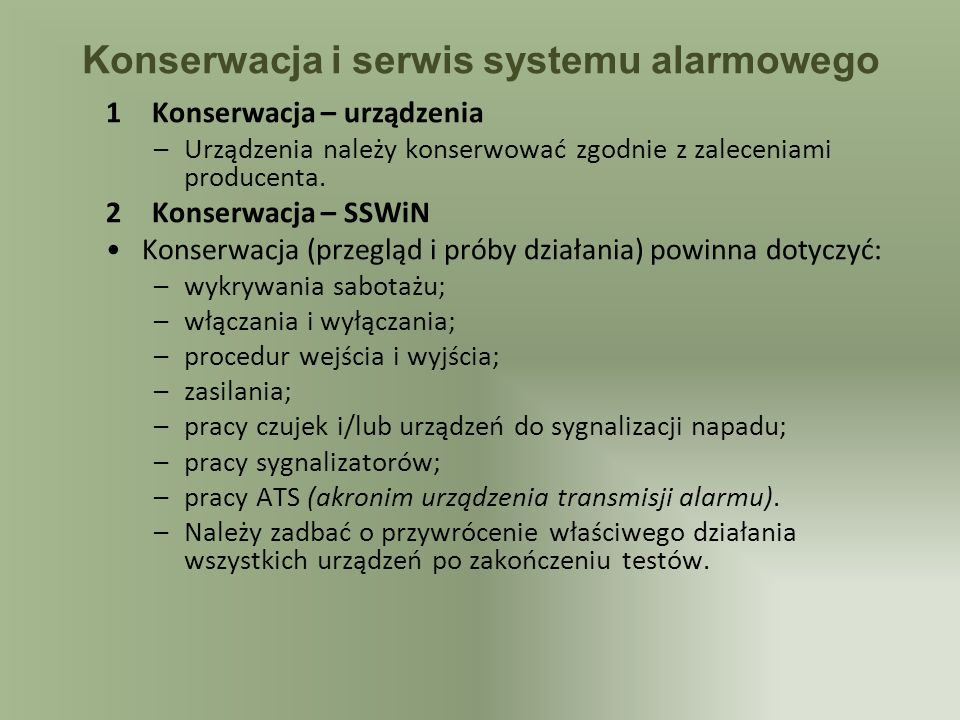 Konserwacja i serwis systemu alarmowego