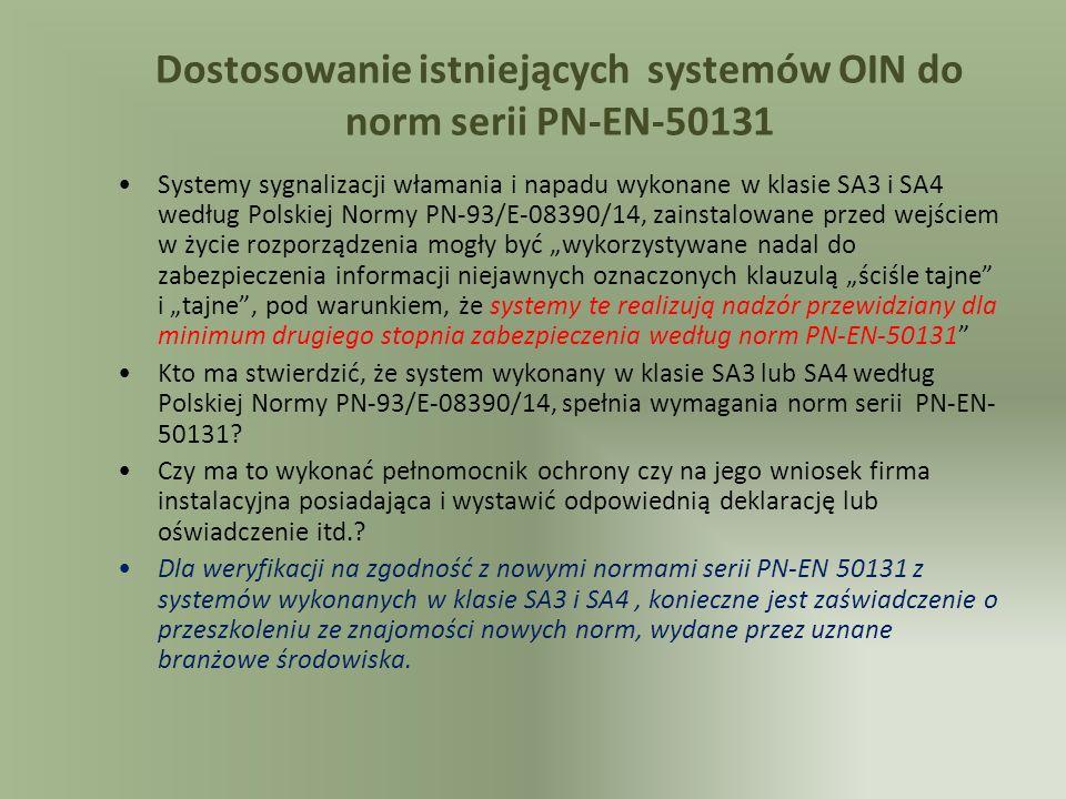 Dostosowanie istniejących systemów OIN do norm serii PN-EN-50131