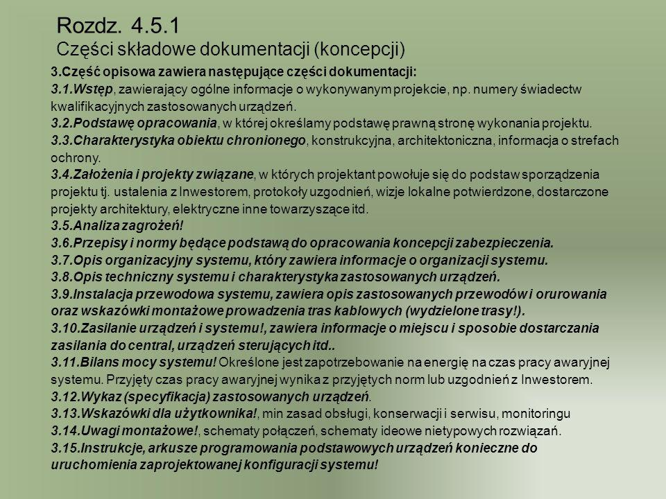Rozdz. 4.5.1 Części składowe dokumentacji (koncepcji)