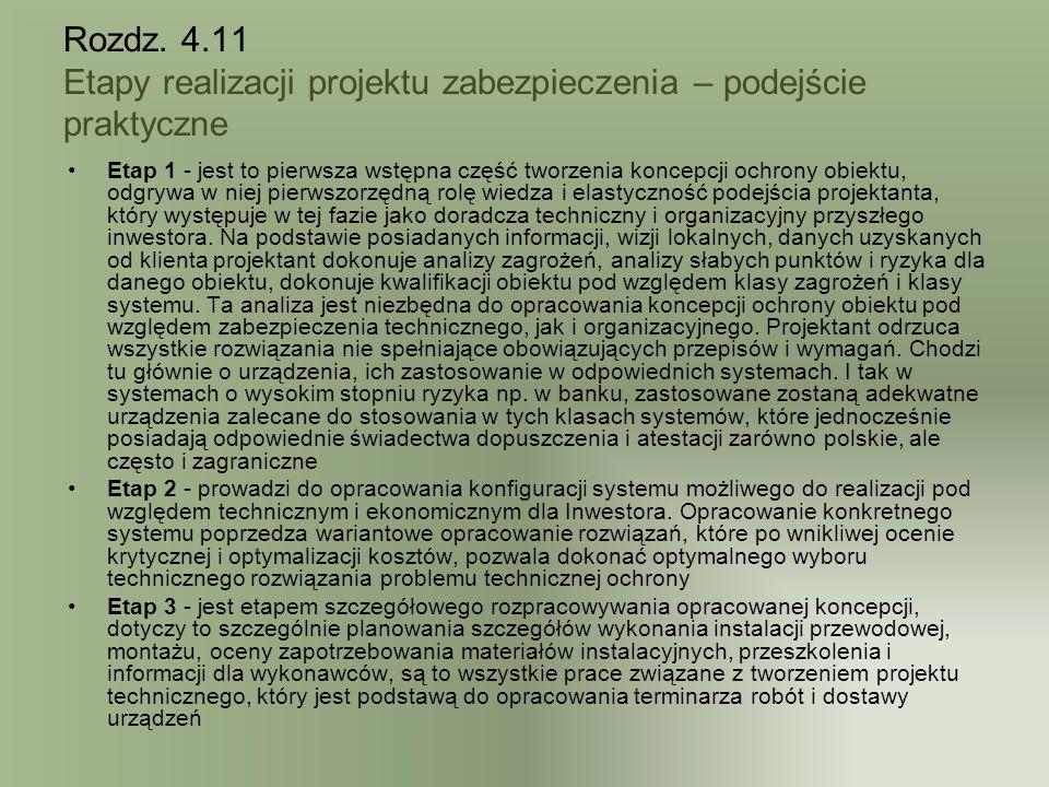 Rozdz. 4.11 Etapy realizacji projektu zabezpieczenia – podejście praktyczne