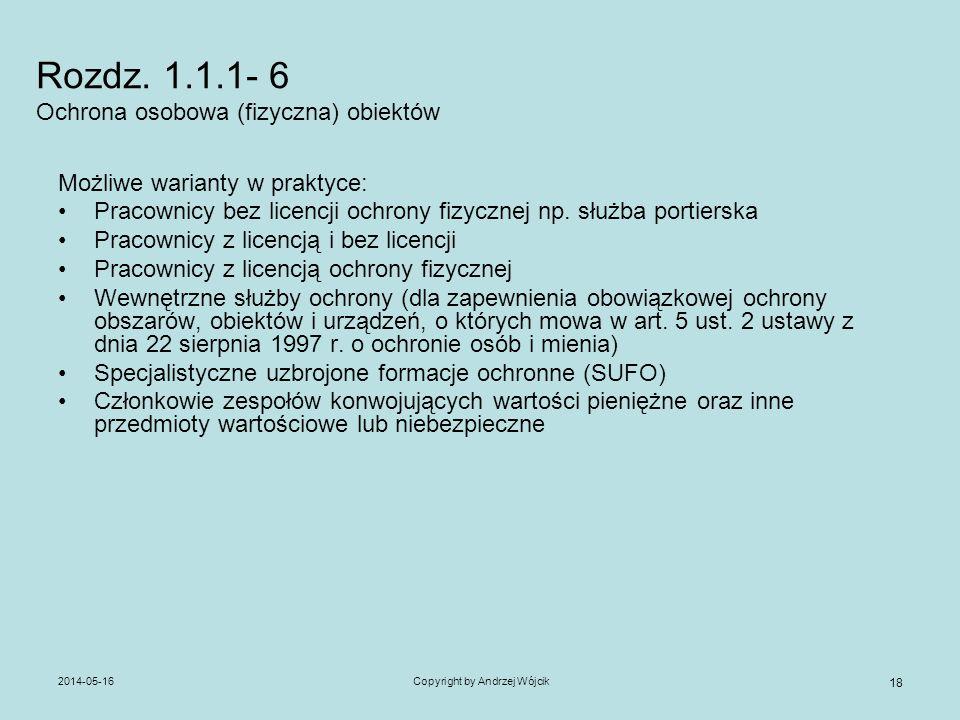 Rozdz. 1.1.1- 6 Ochrona osobowa (fizyczna) obiektów
