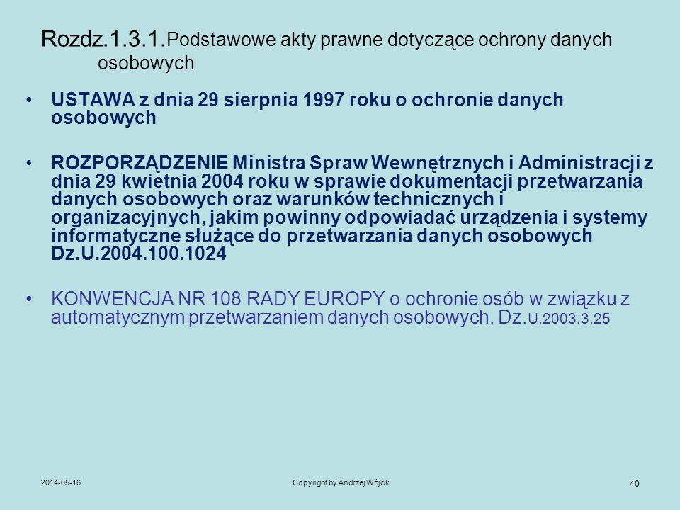 Rozdz.1.3.1.Podstawowe akty prawne dotyczące ochrony danych osobowych
