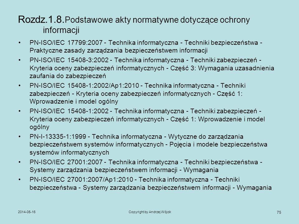 Rozdz.1.8.Podstawowe akty normatywne dotyczące ochrony informacji