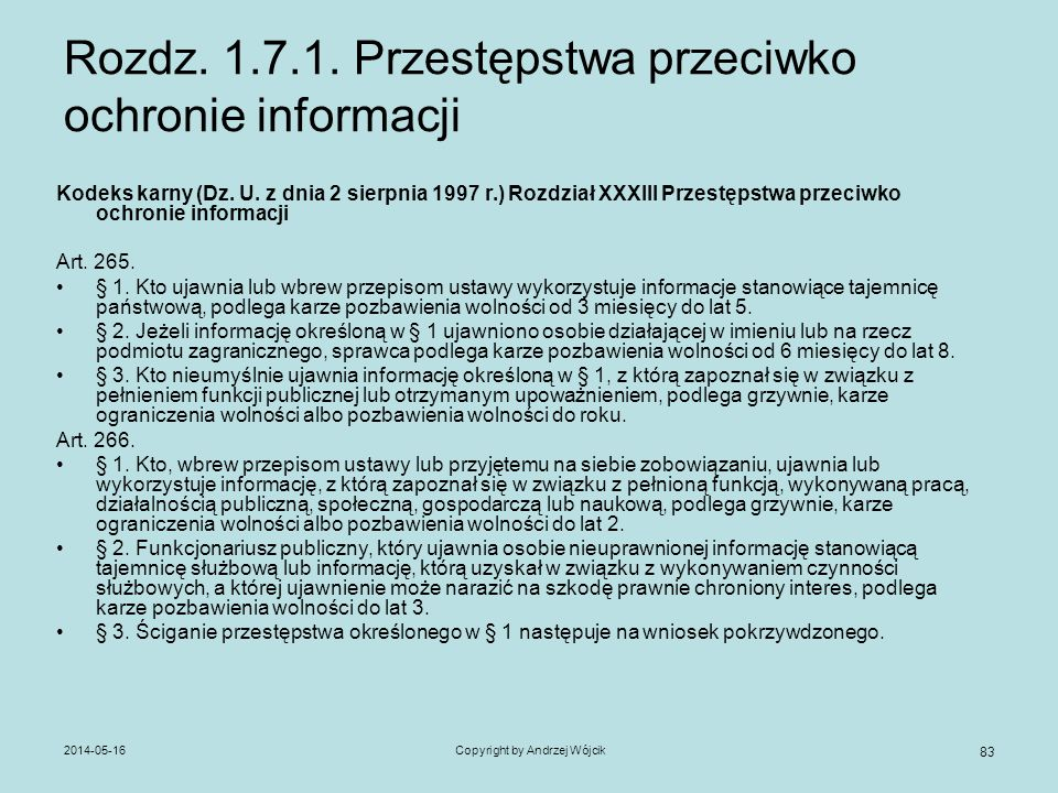 Rozdz. 1.7.1. Przestępstwa przeciwko ochronie informacji
