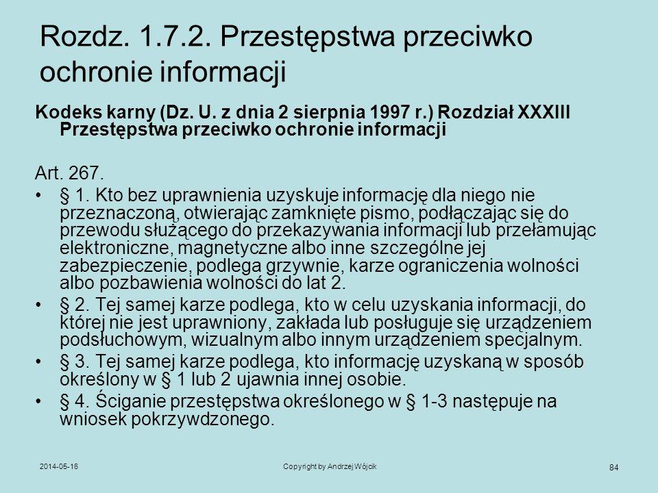 Rozdz. 1.7.2. Przestępstwa przeciwko ochronie informacji