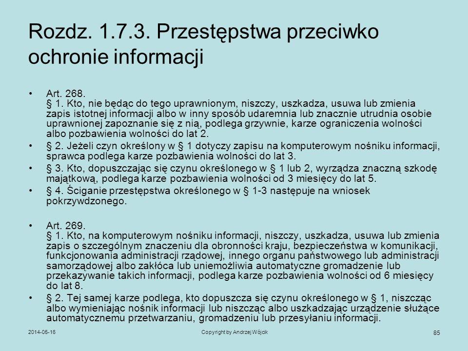 Rozdz. 1.7.3. Przestępstwa przeciwko ochronie informacji