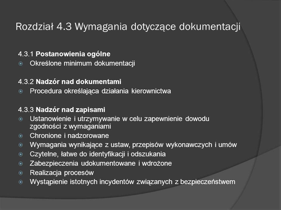 Rozdział 4.3 Wymagania dotyczące dokumentacji