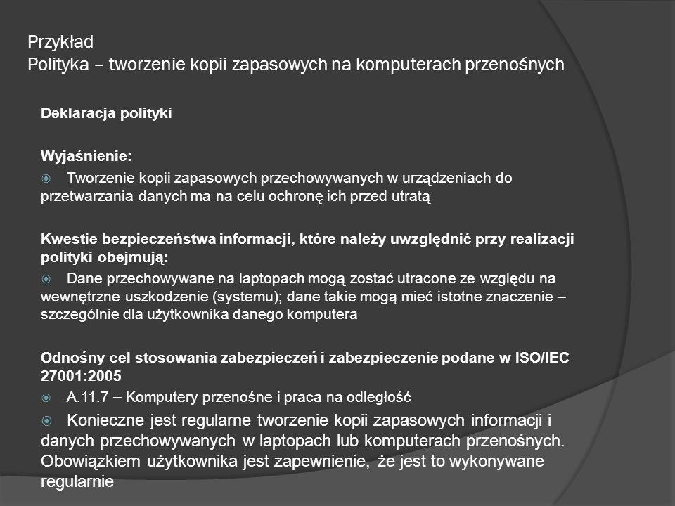 Przykład Polityka – tworzenie kopii zapasowych na komputerach przenośnych