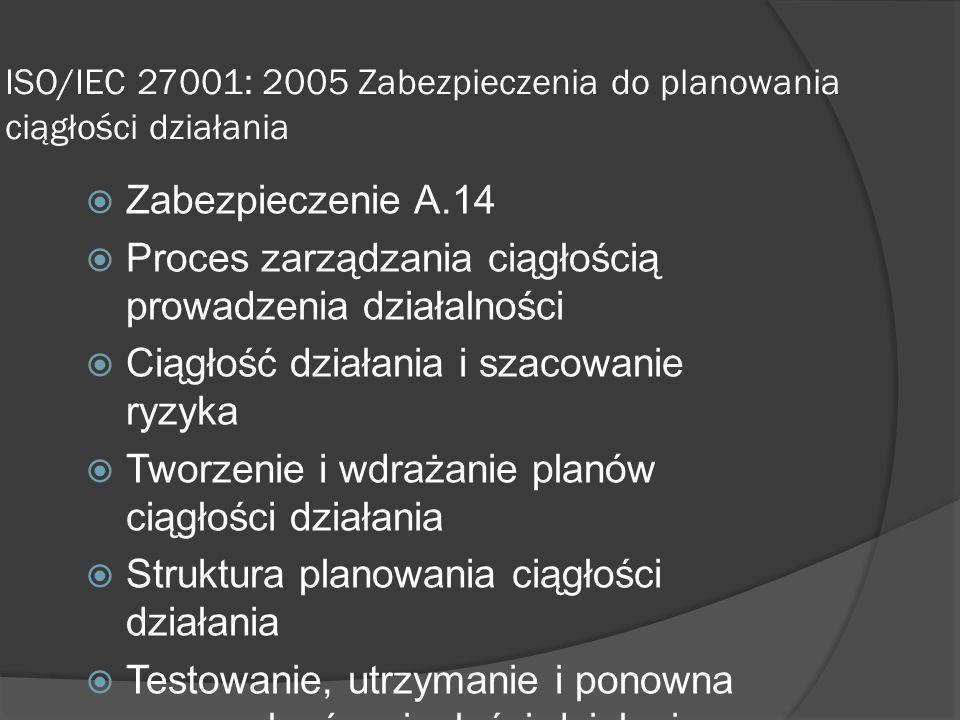 ISO/IEC 27001: 2005 Zabezpieczenia do planowania ciągłości działania