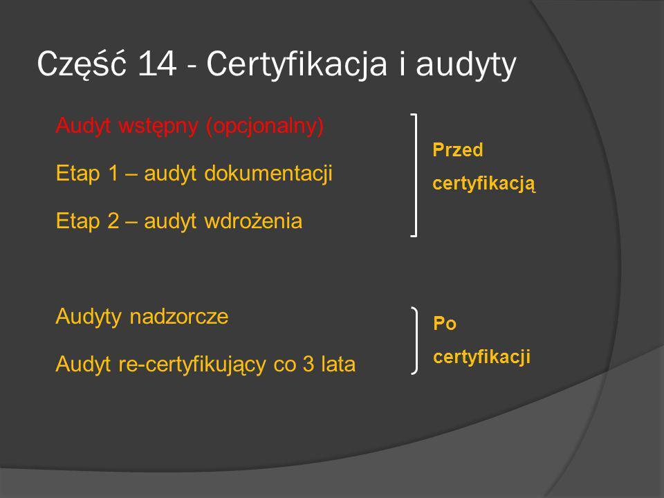 Część 14 - Certyfikacja i audyty