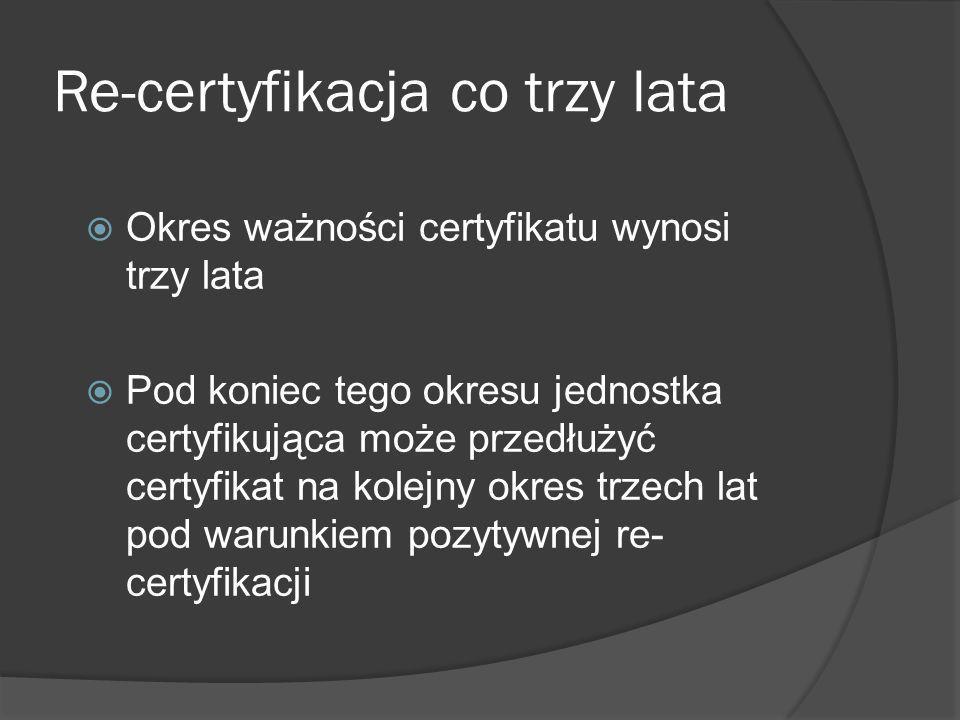 Re-certyfikacja co trzy lata